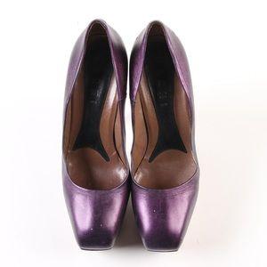 Marni Shoes - Marni Metallic Purple Platform Square-Toe Pumps